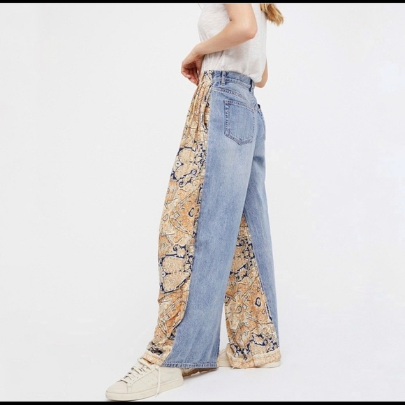 dbbd1651a2 Free people high rise boho printed wide leg jeans